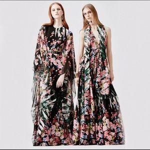 $6325 Elie Saab Floral Palm Leaf Maxi Caftan Dress